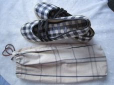 Brown Striped Shoe Bag